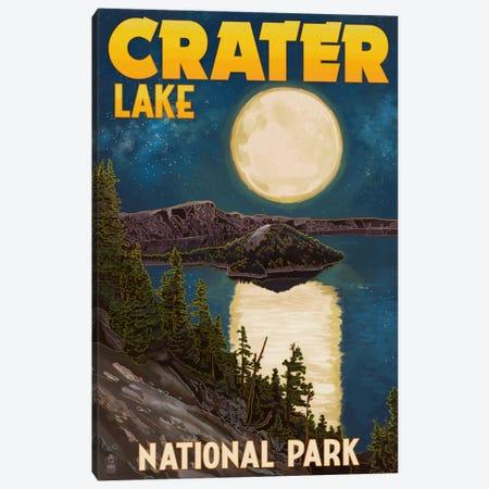 Crater Lake National Park (Full Moon Over Crater Lake) Canvas Print #LAN75} by Lantern Press Art Print