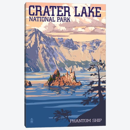 Crater Lake National Park (Phantom Ship Island) Canvas Print #LAN76} by Lantern Press Canvas Art Print