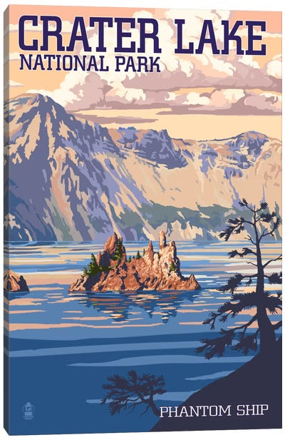 Crater Lake National Park (Phantom Ship Island) by Lantern Press Canvas Art Print