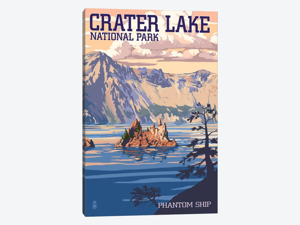 Crater Lake National Park (Phantom Ship Island) by Lantern Press 1-piece Canvas Artwork