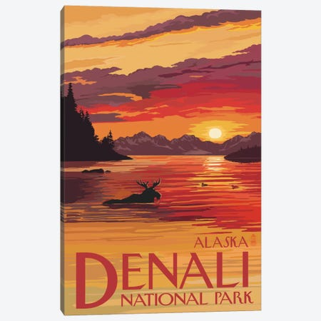 Denali National Park & Preserve (Moose At Sunset) Canvas Print #LAN78} by Lantern Press Canvas Artwork