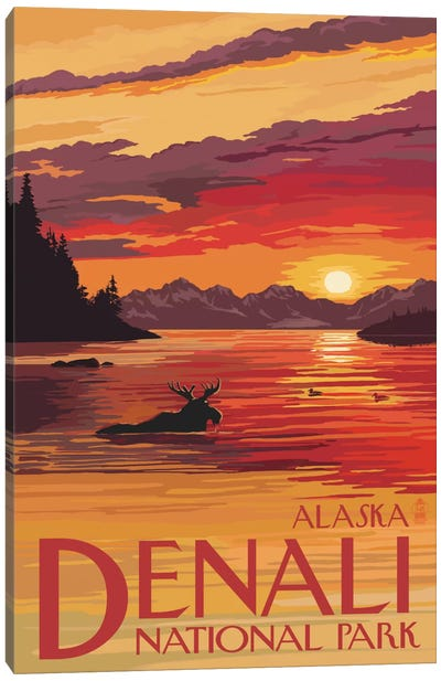 Denali National Park & Preserve (Moose At Sunset) Canvas Art Print