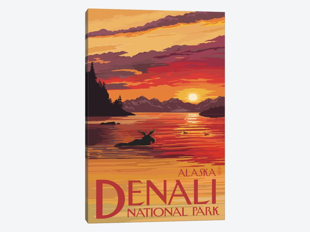 Denali National Park & Preserve (Moose At Sunset) by Lantern Press 1-piece Canvas Artwork