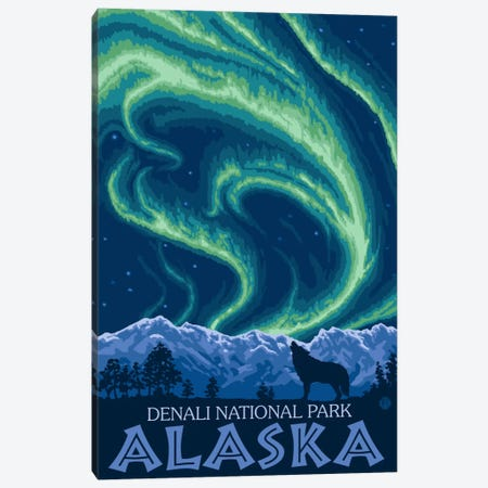 Denali National Park & Preserve (Northern Lights) Canvas Print #LAN79} by Lantern Press Canvas Artwork