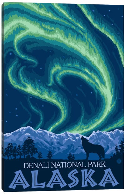 Denali National Park & Preserve (Northern Lights) by Lantern Press Canvas Art Print