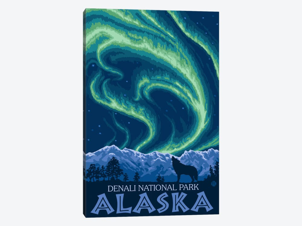 Denali National Park & Preserve (Northern Lights) by Lantern Press 1-piece Canvas Art Print