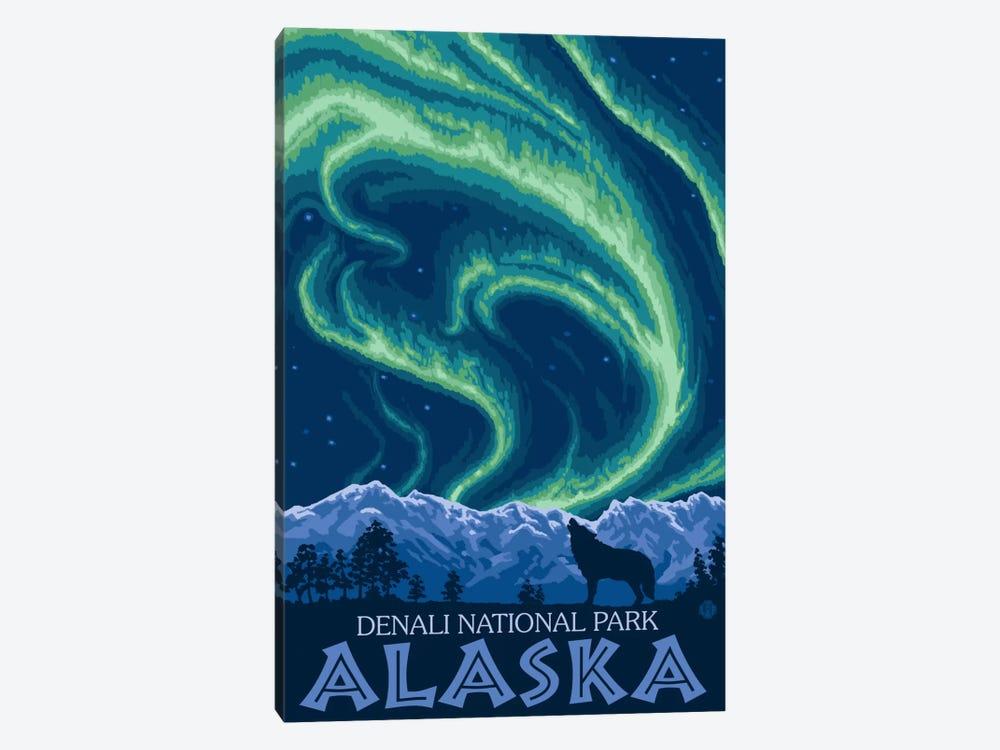 Denali National Park & Preserve (Northern Lights) by Lantern Press 1-piece Canvas Art Print