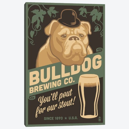 Bulldog Brewing Co. Canvas Print #LAN7} by Lantern Press Canvas Print