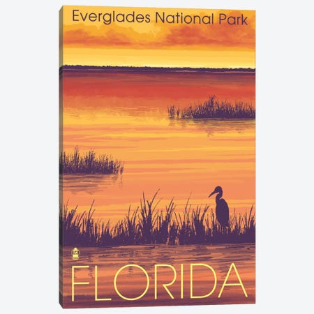 Everglades National Park (Tropical Wilderness Sunset) Canvas Print #LAN81} by Lantern Press Canvas Print
