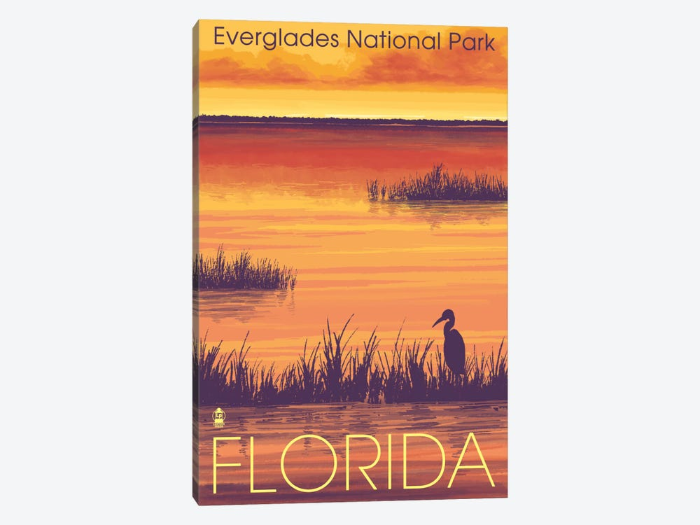 Everglades National Park (Tropical Wilderness Sunset) by Lantern Press 1-piece Canvas Artwork