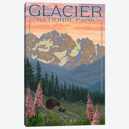Glacier National Park (Black Bear Family) Canvas Print #LAN82} by Lantern Press Canvas Print
