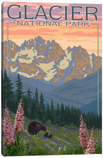 Glacier National Park (Black Bear Family) Canvas Art Print