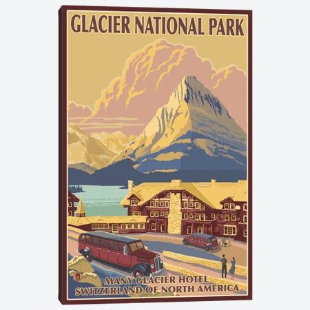 Glacier National Park (Many Glacier Hotel) Canvas Print #LAN83} by Lantern Press Art Print