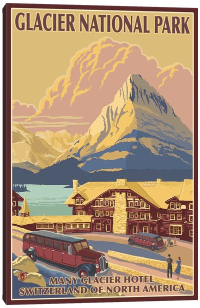 Glacier National Park (Many Glacier Hotel) by Lantern Press Canvas Art Print