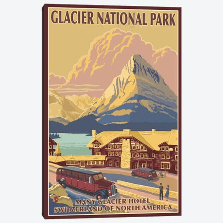 Glacier National Park (Many Glacier Hotel) Canvas Print #LAN83} by Lantern Press Art Print