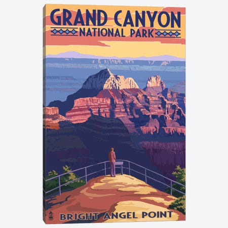 Grand Canyon National Park (Bright Angel Point) Canvas Print #LAN85} by Lantern Press Canvas Artwork