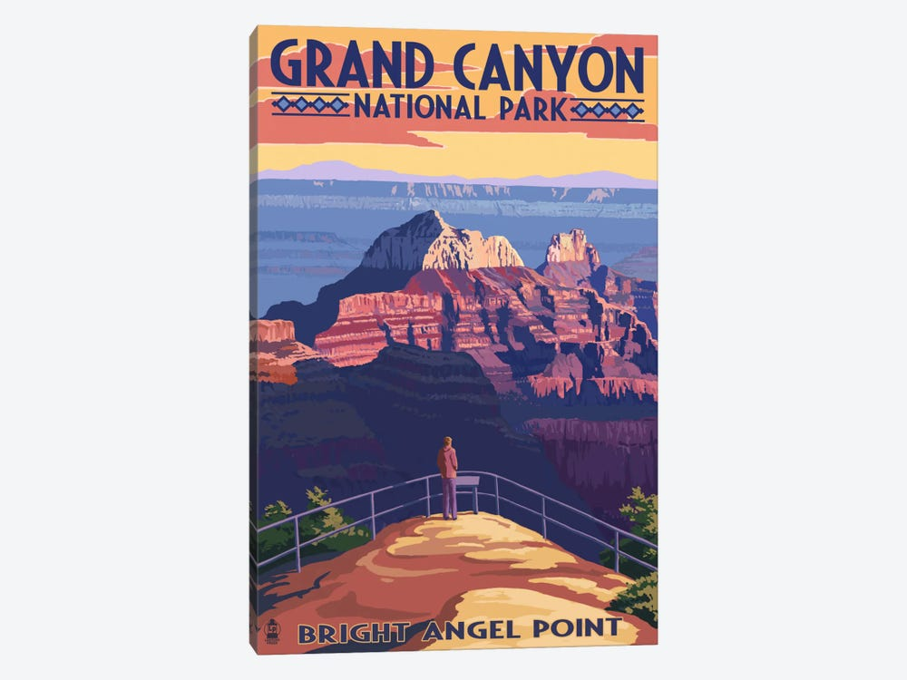 Grand Canyon National Park (Bright Angel Point) by Lantern Press 1-piece Canvas Artwork