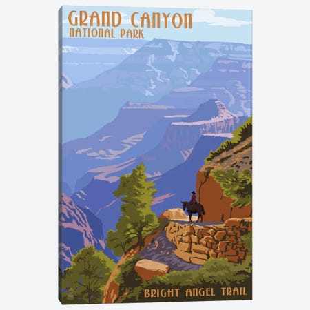 Grand Canyon National Park (Bright Angel Trail) Canvas Print #LAN86} by Lantern Press Canvas Wall Art