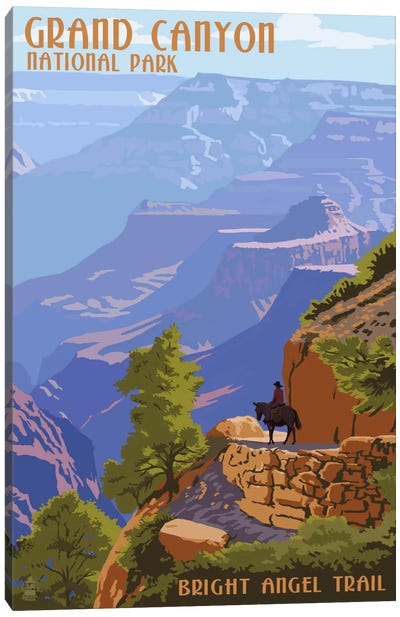 Grand Canyon National Park (Bright Angel Trail) by Lantern Press Canvas Art Print