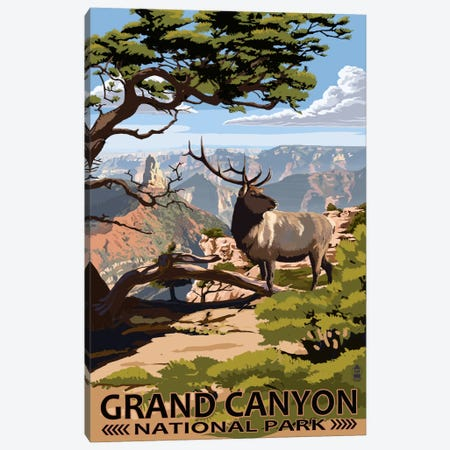 Grand Canyon National Park (Elk At The South Rim) Canvas Print #LAN87} by Lantern Press Canvas Artwork