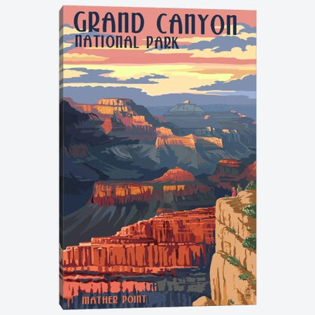 Grand Canyon National Park (Mather Point) Canvas Print #LAN88} by Lantern Press Canvas Print