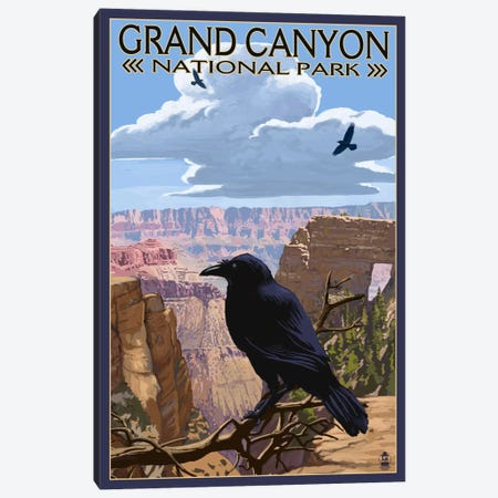 Grand Canyon National Park (Ravens Near Angels Window) Canvas Print #LAN89} by Lantern Press Art Print