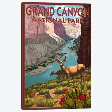 Grand Canyon National Park (Roaming Deer) Canvas Print #LAN90} by Lantern Press Canvas Wall Art