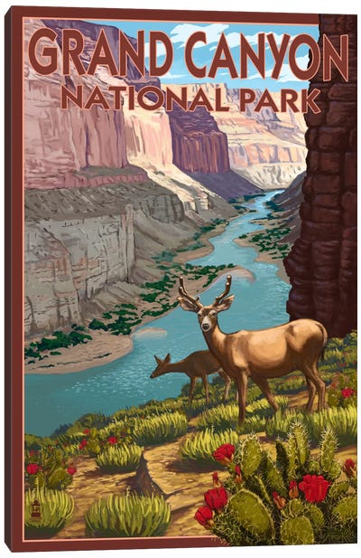 U.S. National Park Service Series: Grand Canyon National Park (Roaming Deer) Canvas Art Print