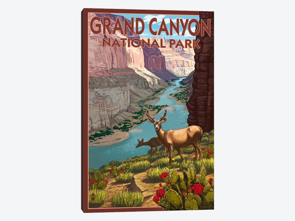 Grand Canyon National Park (Roaming Deer) by Lantern Press 1-piece Canvas Art