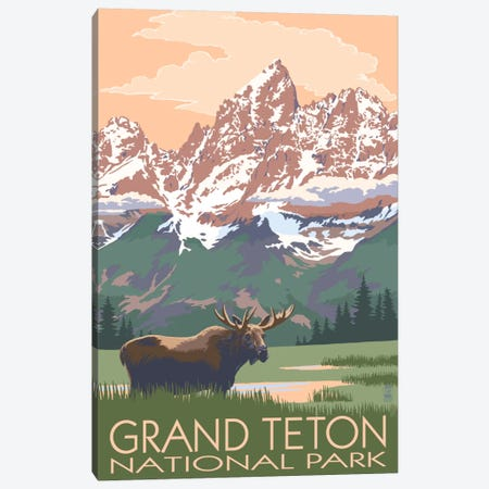Grand Teton National Park (Moose And Teton Range) Canvas Print #LAN91} by Lantern Press Canvas Wall Art
