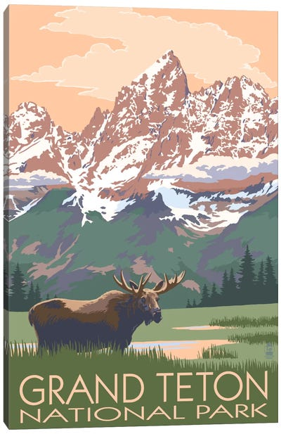 Grand Teton National Park (Moose And Teton Range) Canvas Art Print