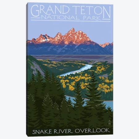 Grand Teton National Park (Snake River Overlook) Canvas Print #LAN92} by Lantern Press Canvas Wall Art
