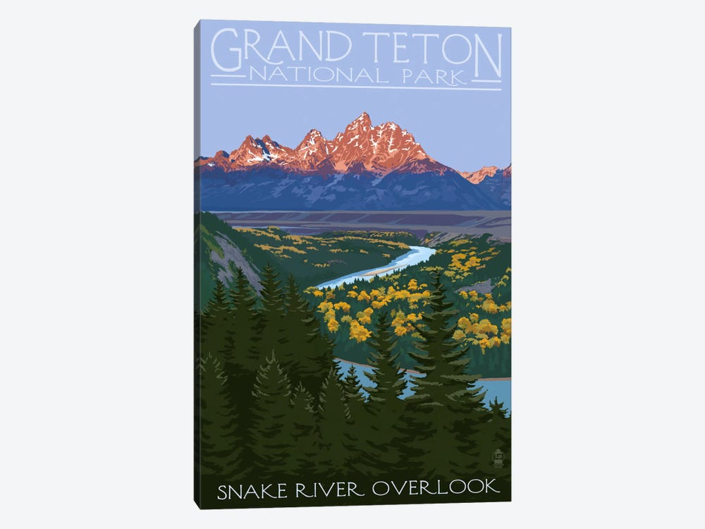 Grand Teton National Park (Snake River Overlook) by Lantern Press 1-piece Canvas Artwork