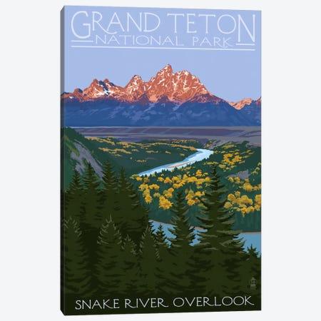 Grand Teton National Park (Snake River Overlook) Canvas Print #LAN92} by Lantern Press Canvas Wall Art