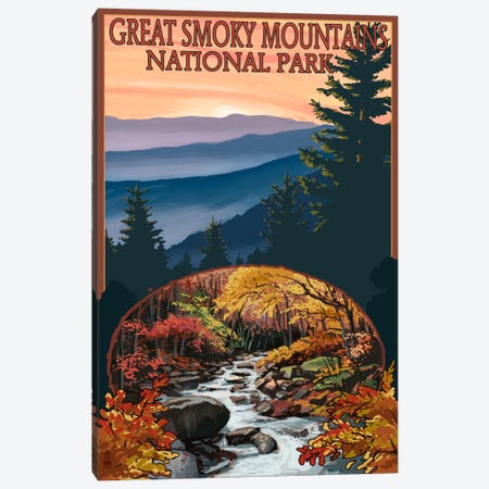 Great Smoky Mountains National Park (Flowing Stream) Canvas Print #LAN95} by Lantern Press Canvas Art Print