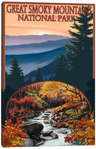 U.S. National Park Service Series: Great Smoky Mountains National Park (Flowing Stream) Canvas Art Print