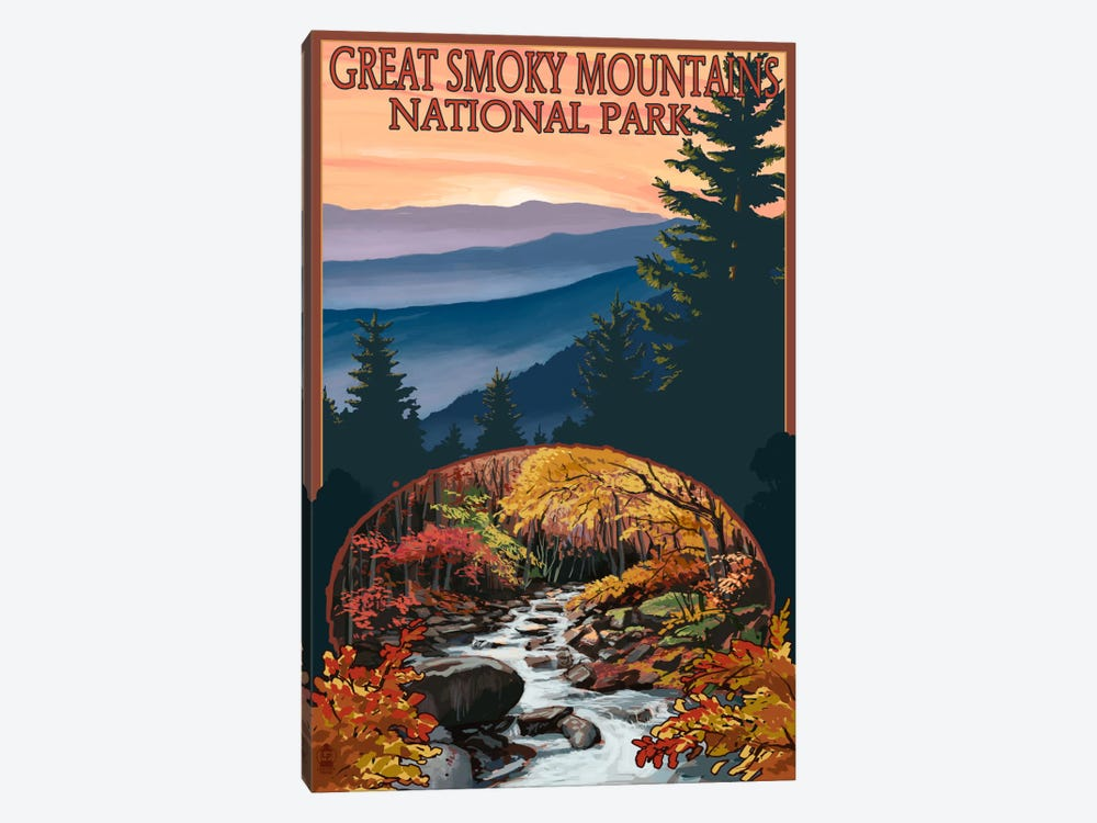 Great Smoky Mountains National Park (Flowing Stream) by Lantern Press 1-piece Art Print