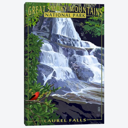 Great Smoky Mountains National Park (Laurel Falls) Canvas Print #LAN96} by Lantern Press Art Print