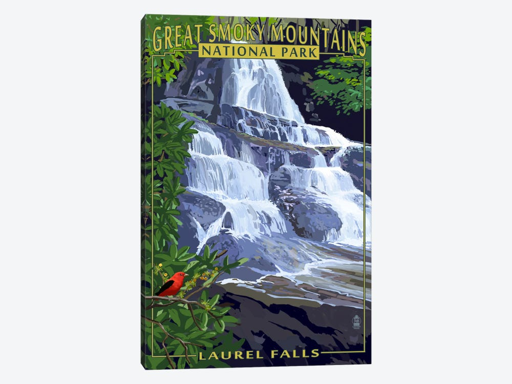 Great Smoky Mountains National Park (Laurel Falls) by Lantern Press 1-piece Canvas Wall Art