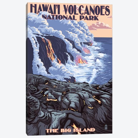 Hawai'i Volcanoes National Park (Flowing Lava) Canvas Print #LAN98} by Lantern Press Canvas Art