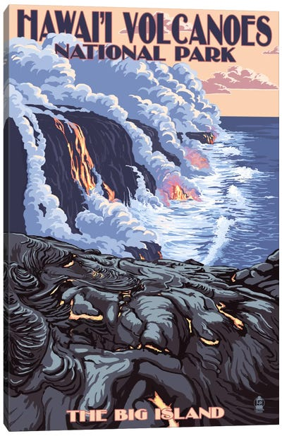 Hawai'i Volcanoes National Park (Flowing Lava) by Lantern Press Canvas Art Print