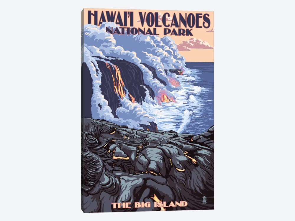 Hawai'i Volcanoes National Park (Flowing Lava) by Lantern Press 1-piece Canvas Wall Art