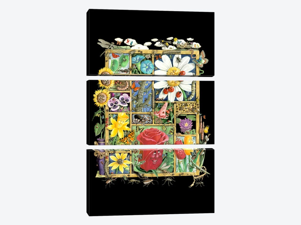 Bugs And Blossoms by Laura Seeley 3-piece Canvas Art