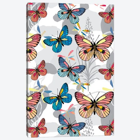Pastel Butterflies Canvas Print #LBI16} by Linda Birtel Canvas Artwork