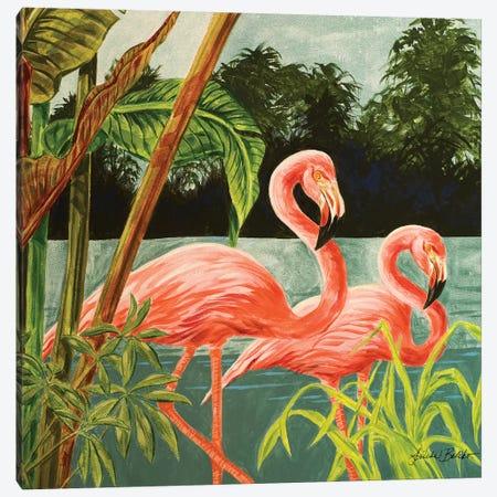 Tropical Flamingo II Canvas Print #LBK9} by Linda Baliko Canvas Wall Art