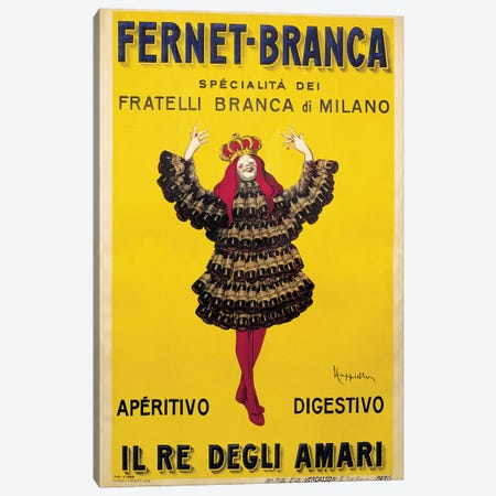 Fernet Branca Yellow Canvas Print #LCA16} by Leonetto Cappiello Canvas Art Print