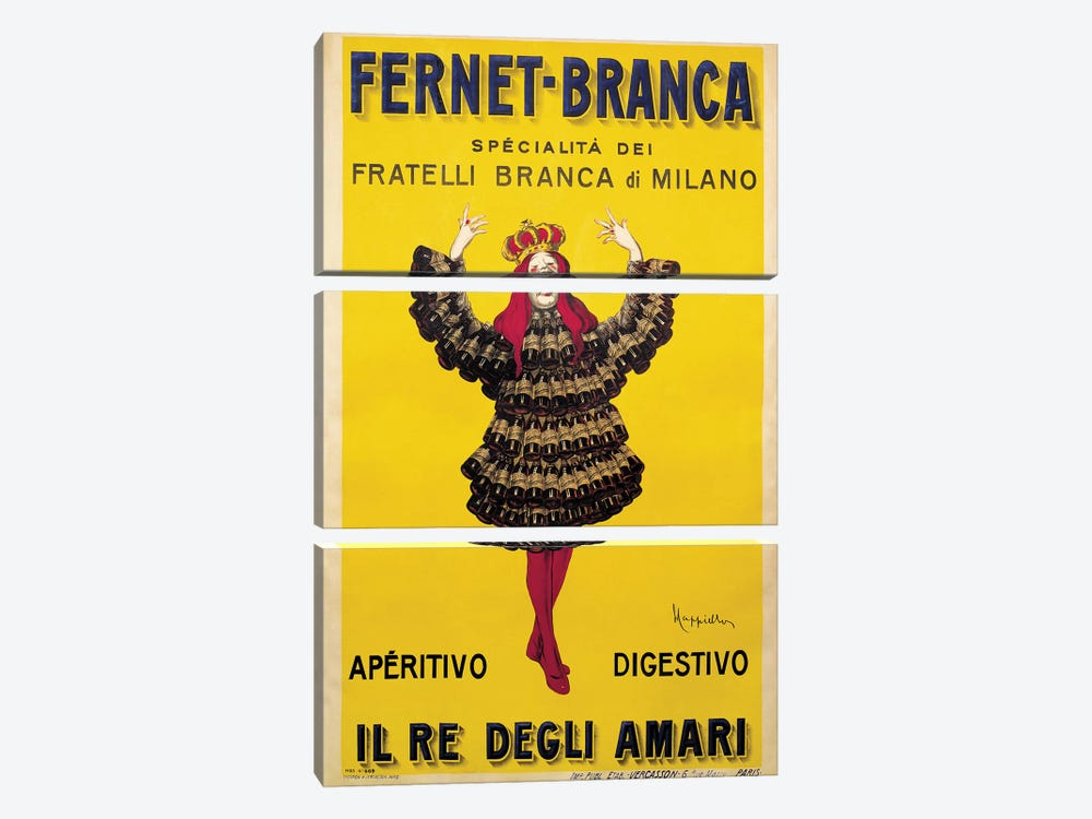 Fernet Branca Yellow by Leonetto Cappiello 3-piece Canvas Art