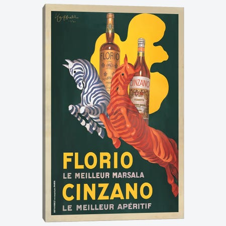 Florio e Cinzano, 1930 3-Piece Canvas #LCA6} by Leonetto Cappiello Canvas Artwork