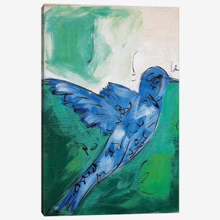 Hummingbird Blue I Canvas Print #LCM25} by Lauren Combs Canvas Artwork