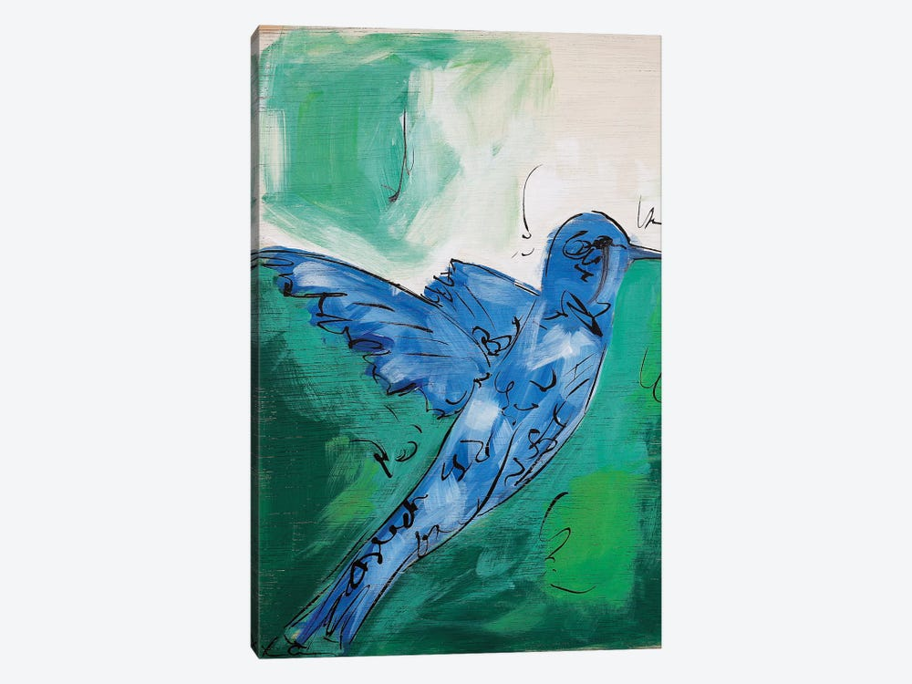 Hummingbird Blue I by Lauren Combs 1-piece Canvas Art